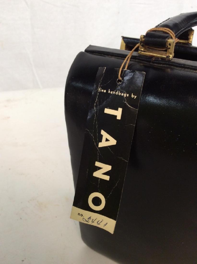 Vintage Ladies Tano Black Leather Handbag - 7