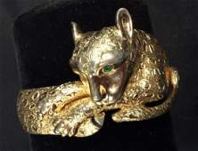 Signed Wide Panther Form Cuff Bracelet