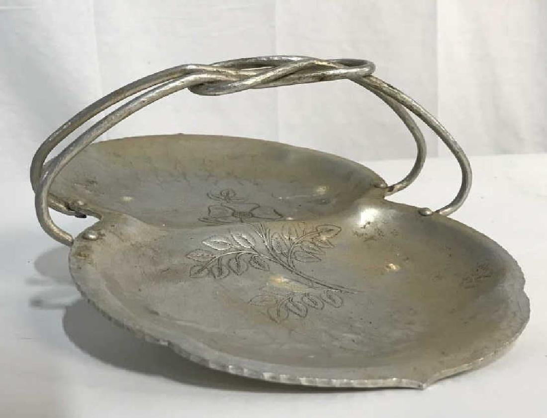 Hand Wrought Metal Serving Tray W Handle - 2