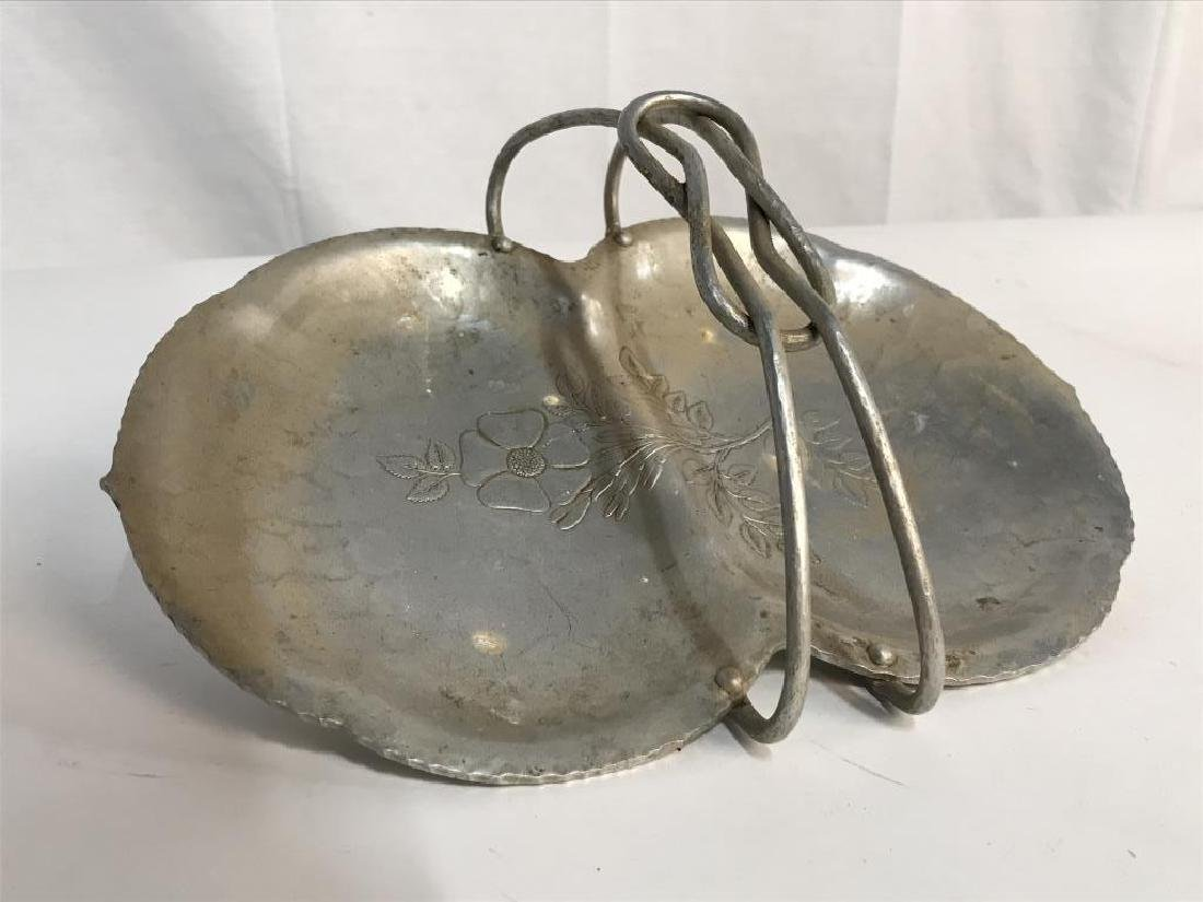 Hand Wrought Metal Serving Tray W Handle - 3