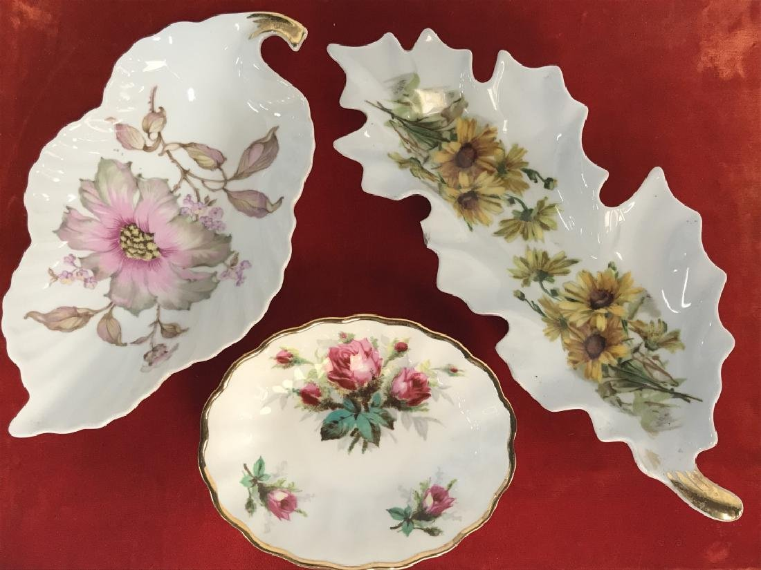 Lot 3 Porcelain Trinket Dishes W Floral Patterns