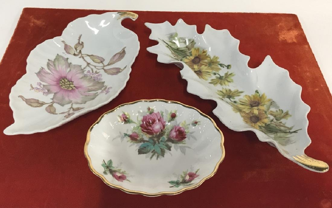 Lot 3 Porcelain Trinket Dishes W Floral Patterns - 2