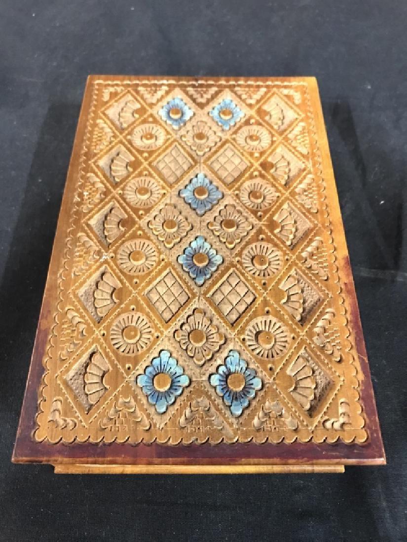 Carved Wooden Keepsake Box - 7