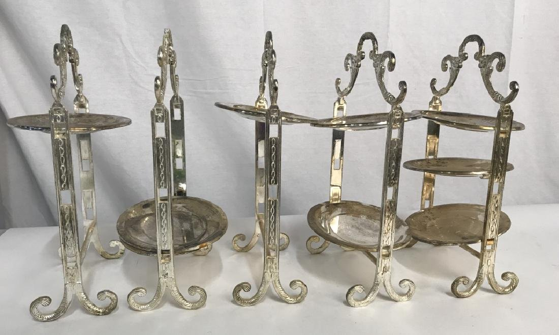 Set 5 Silver Plated Tiered High Tea Serving Trays