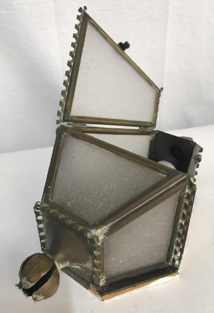 Vintage Brass and Glass Wall Sconce - 4