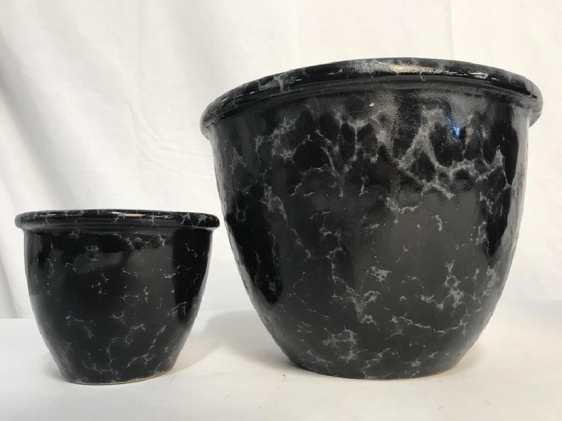 Lot 3 Vermont Pottery Marbled Black Planters - 10