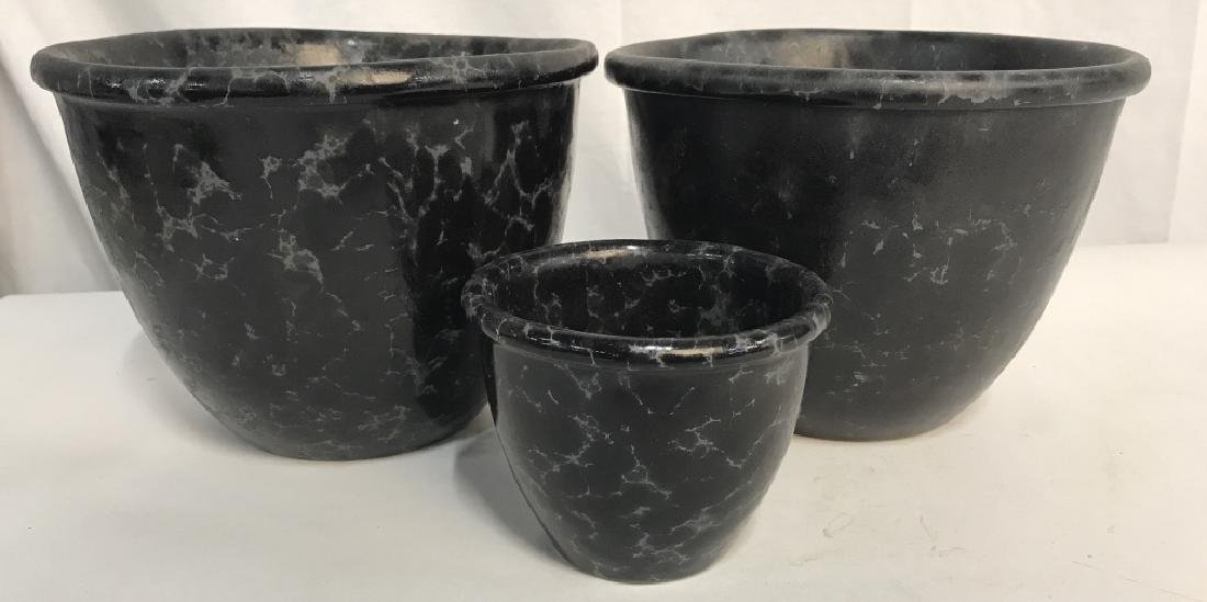 Lot 3 Vermont Pottery Marbled Black Planters