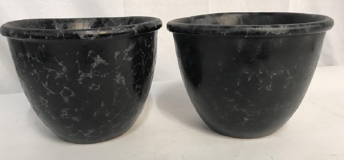 Lot 3 Vermont Pottery Marbled Black Planters - 2