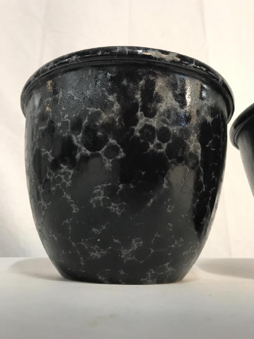 Lot 3 Vermont Pottery Marbled Black Planters - 3
