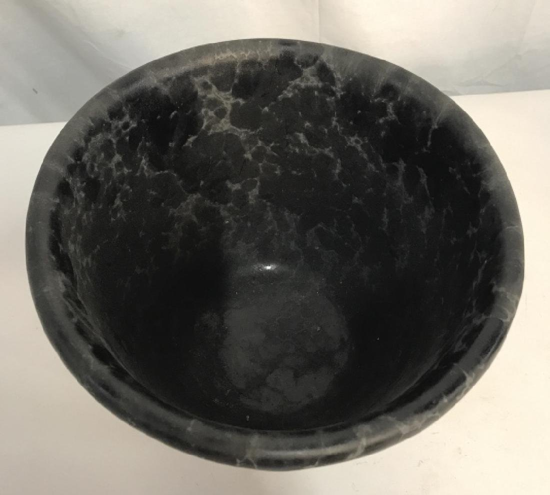 Lot 3 Vermont Pottery Marbled Black Planters - 5