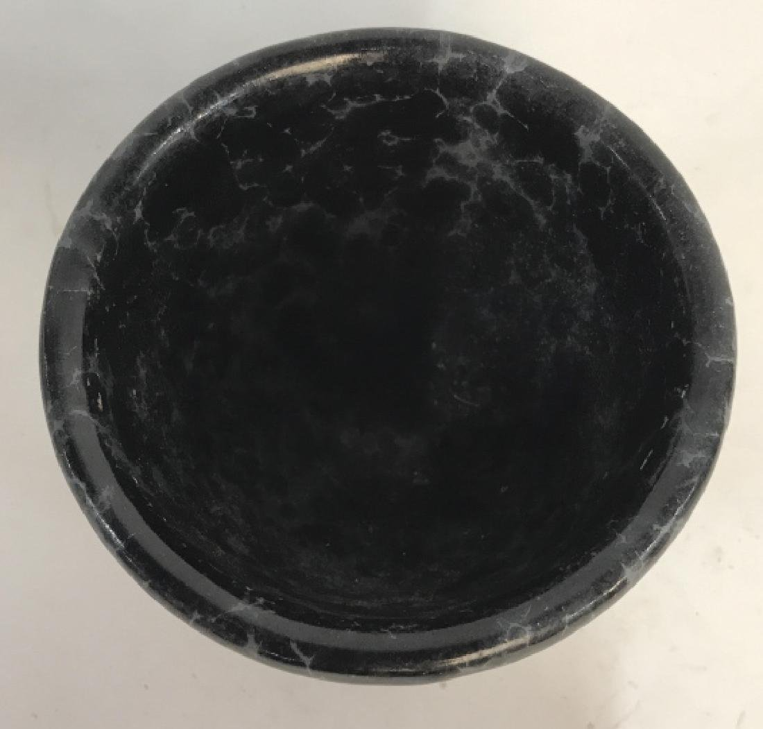Lot 3 Vermont Pottery Marbled Black Planters - 8