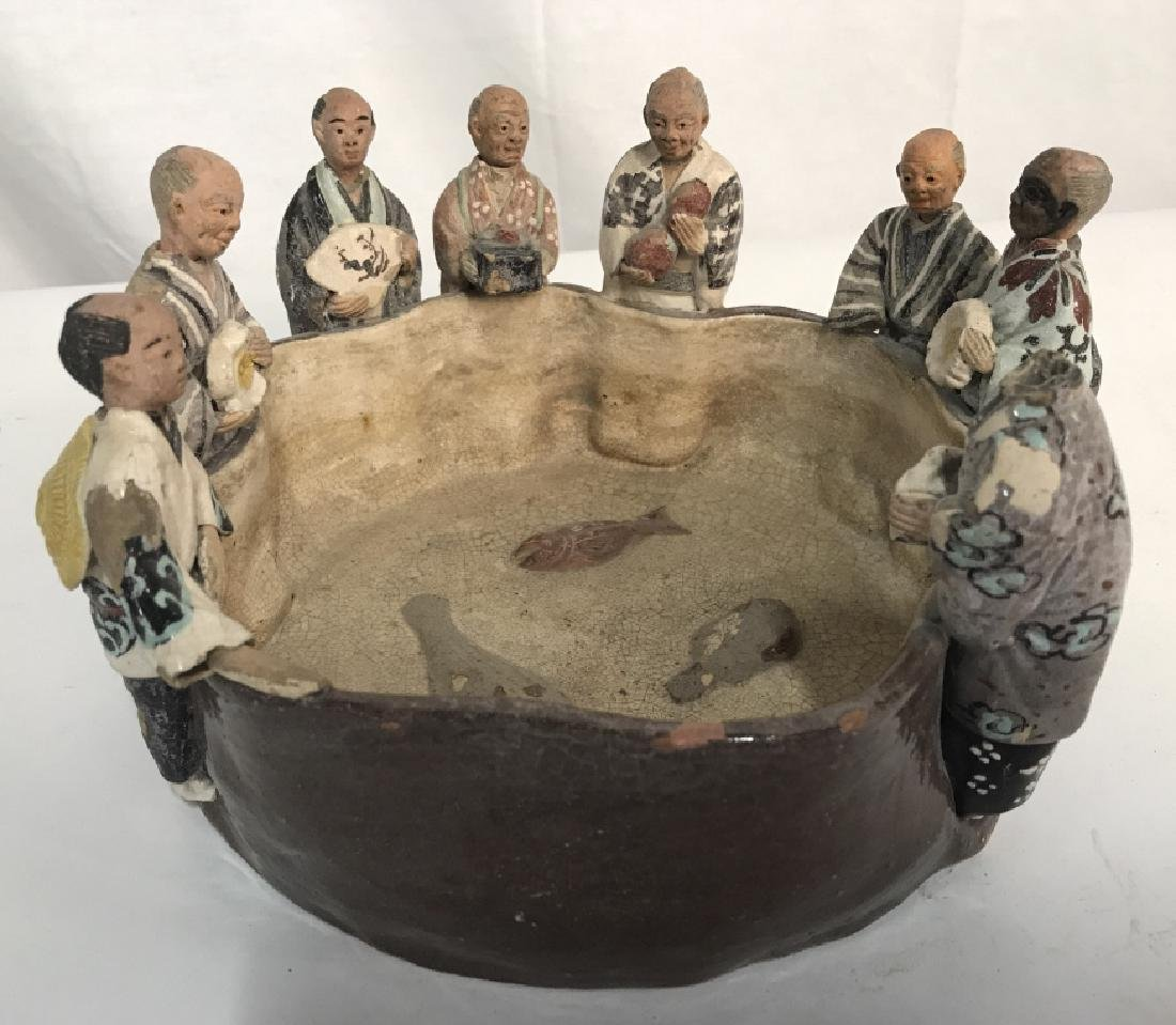 Asian Arts and Crafts Ceramic Bobble Head Bowl