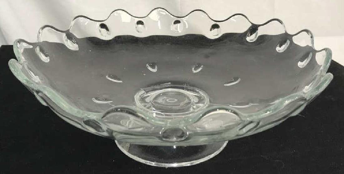 Set 2 Pressed Glass Serving Dishes - 2
