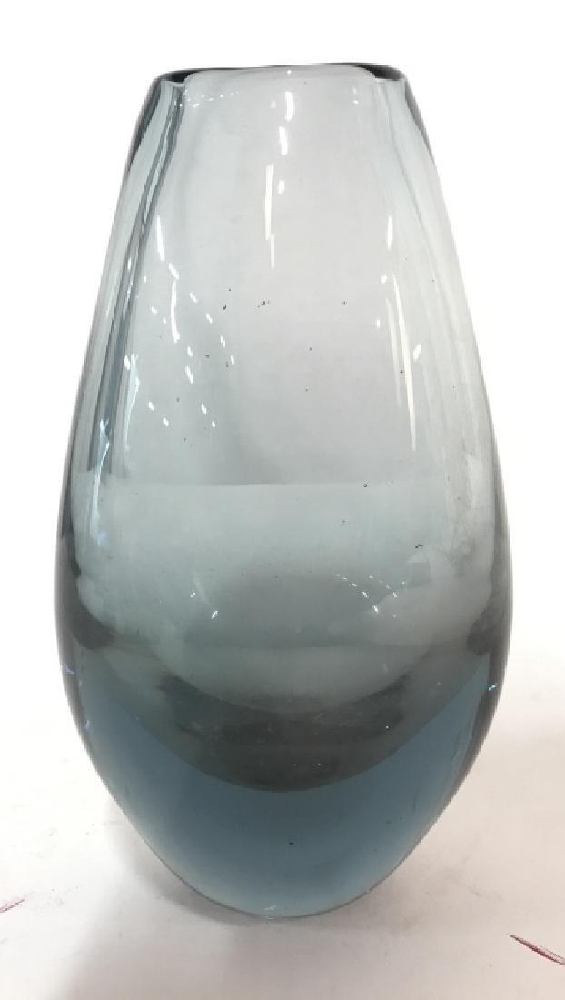 Hand Blown BLUE Toned Art Glass Vase