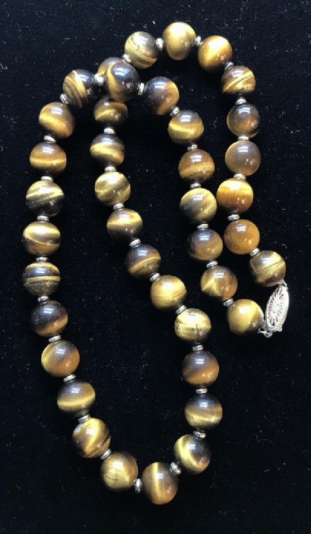 Tigers Eye Natural Stone Necklace W 14 k Clasp