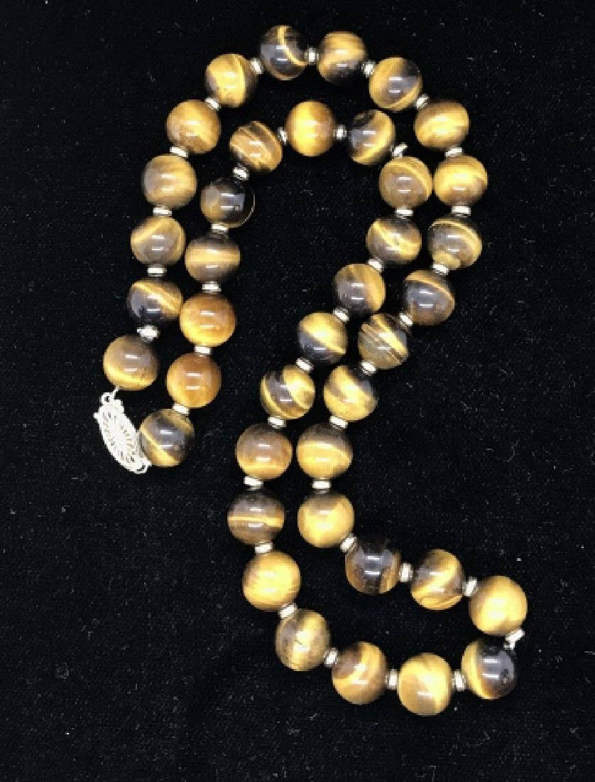 Tigers Eye Natural Stone Necklace W 14 k Clasp - 2