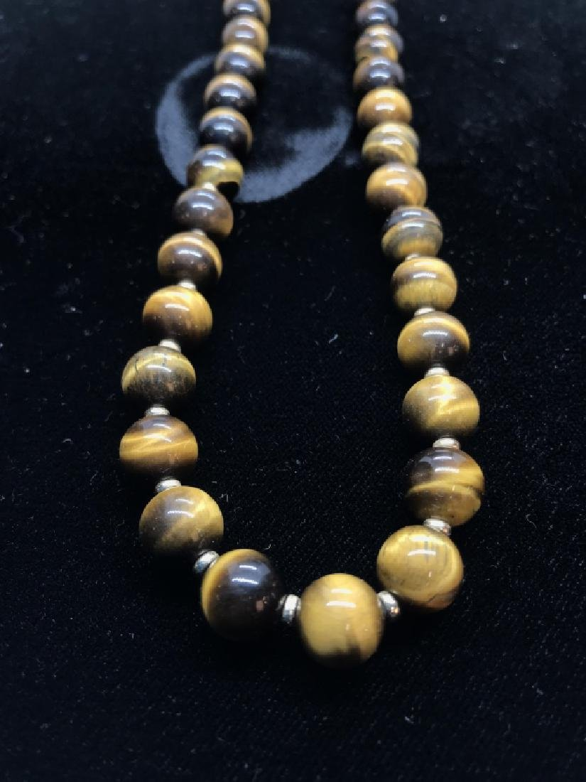 Tigers Eye Natural Stone Necklace W 14 k Clasp - 3