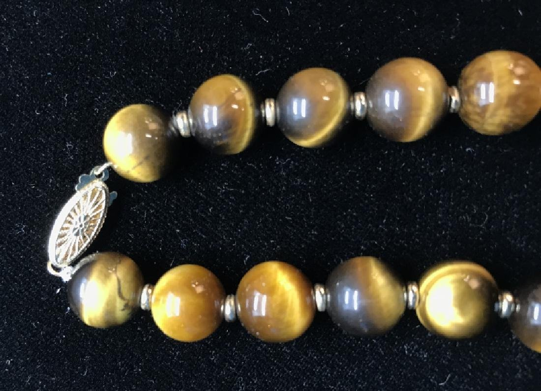 Tigers Eye Natural Stone Necklace W 14 k Clasp - 4