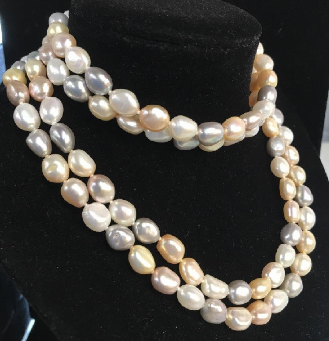 Multi toned Pearl Style Beaded Necklace