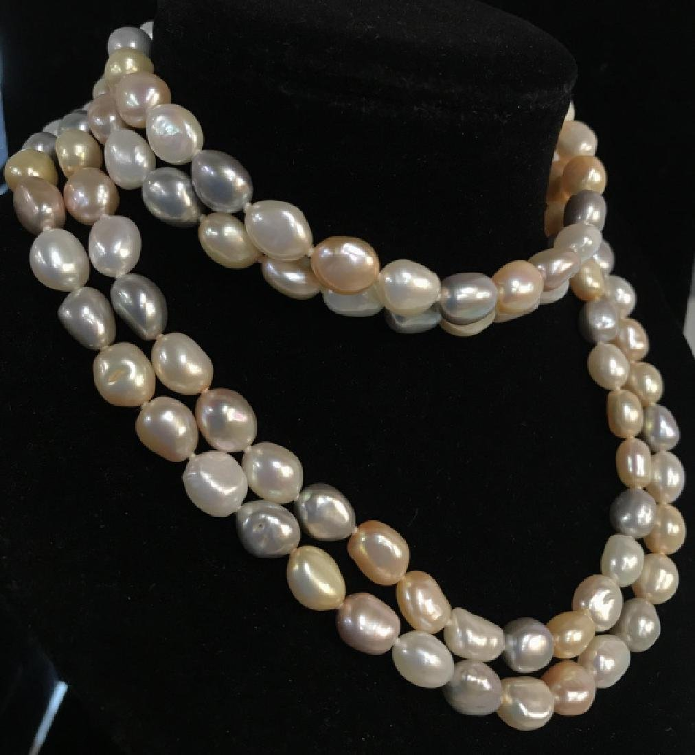 Multi toned Pearl Style Beaded Necklace - 2