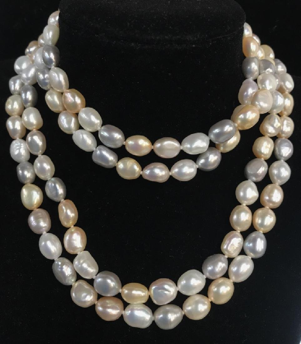 Multi toned Pearl Style Beaded Necklace - 3