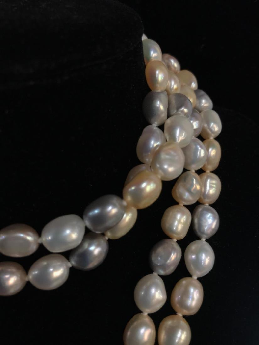Multi toned Pearl Style Beaded Necklace - 4