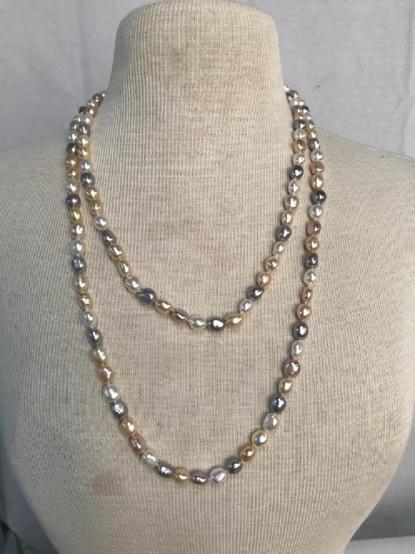 Multi toned Pearl Style Beaded Necklace - 7