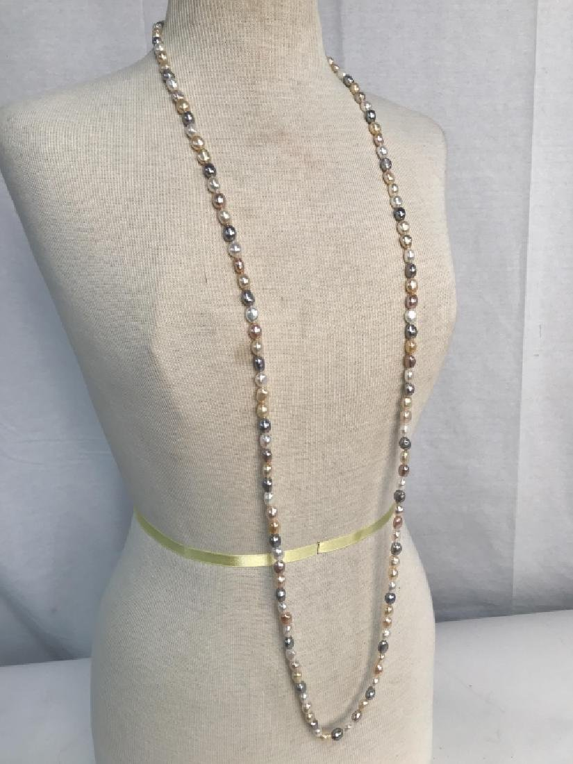 Multi toned Pearl Style Beaded Necklace - 8