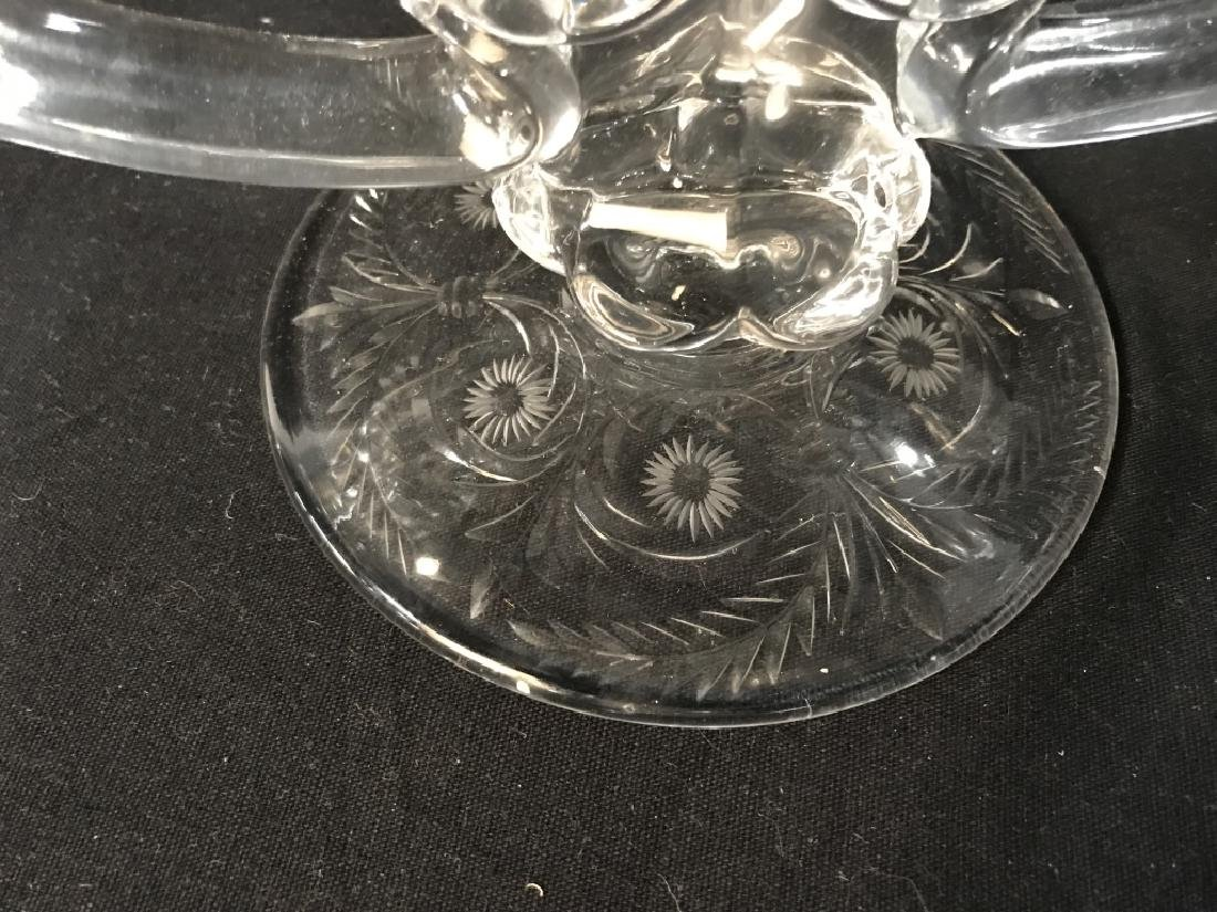 Near Pair Etched Glass Candleholders - 4