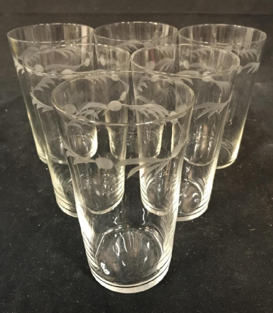 Set of 6 Vintage Etched Glass Water Glasses