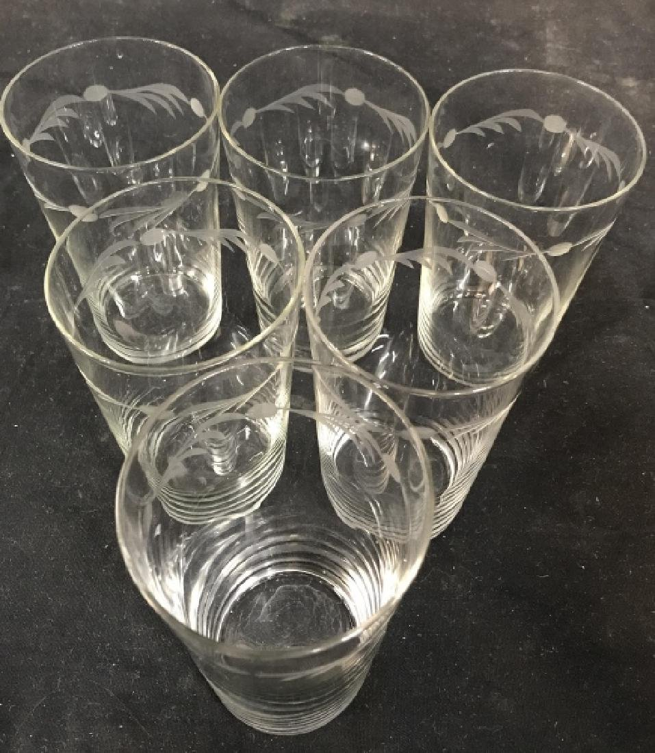 Set of 6 Vintage Etched Glass Water Glasses - 2
