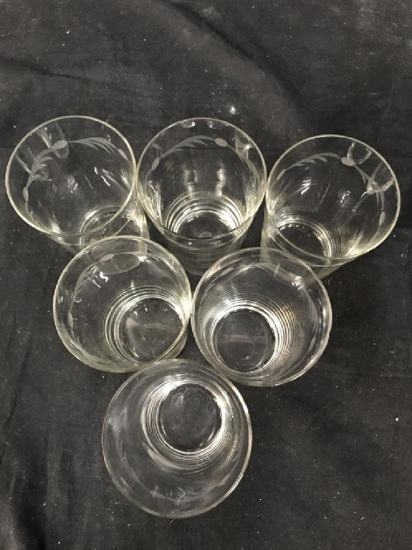 Set of 6 Vintage Etched Glass Water Glasses - 5