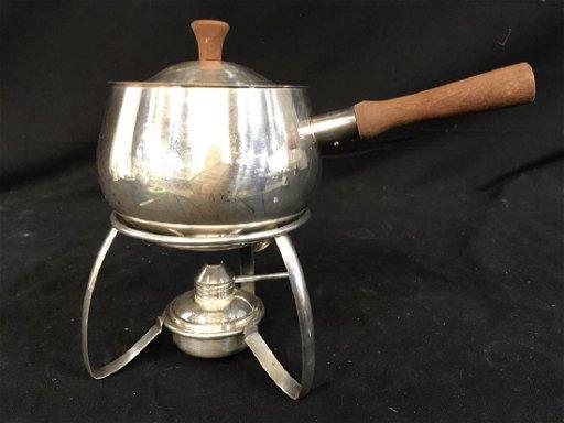 Vintage Silver Toned Fondue Pot Set