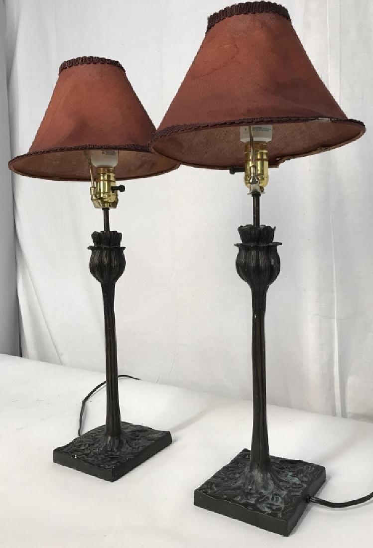 Pair of Art Deco Style Metal Table Lamps