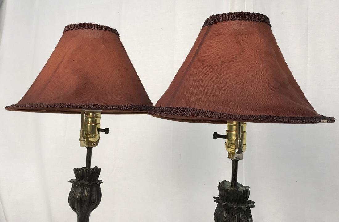 Pair of Art Deco Style Metal Table Lamps - 4