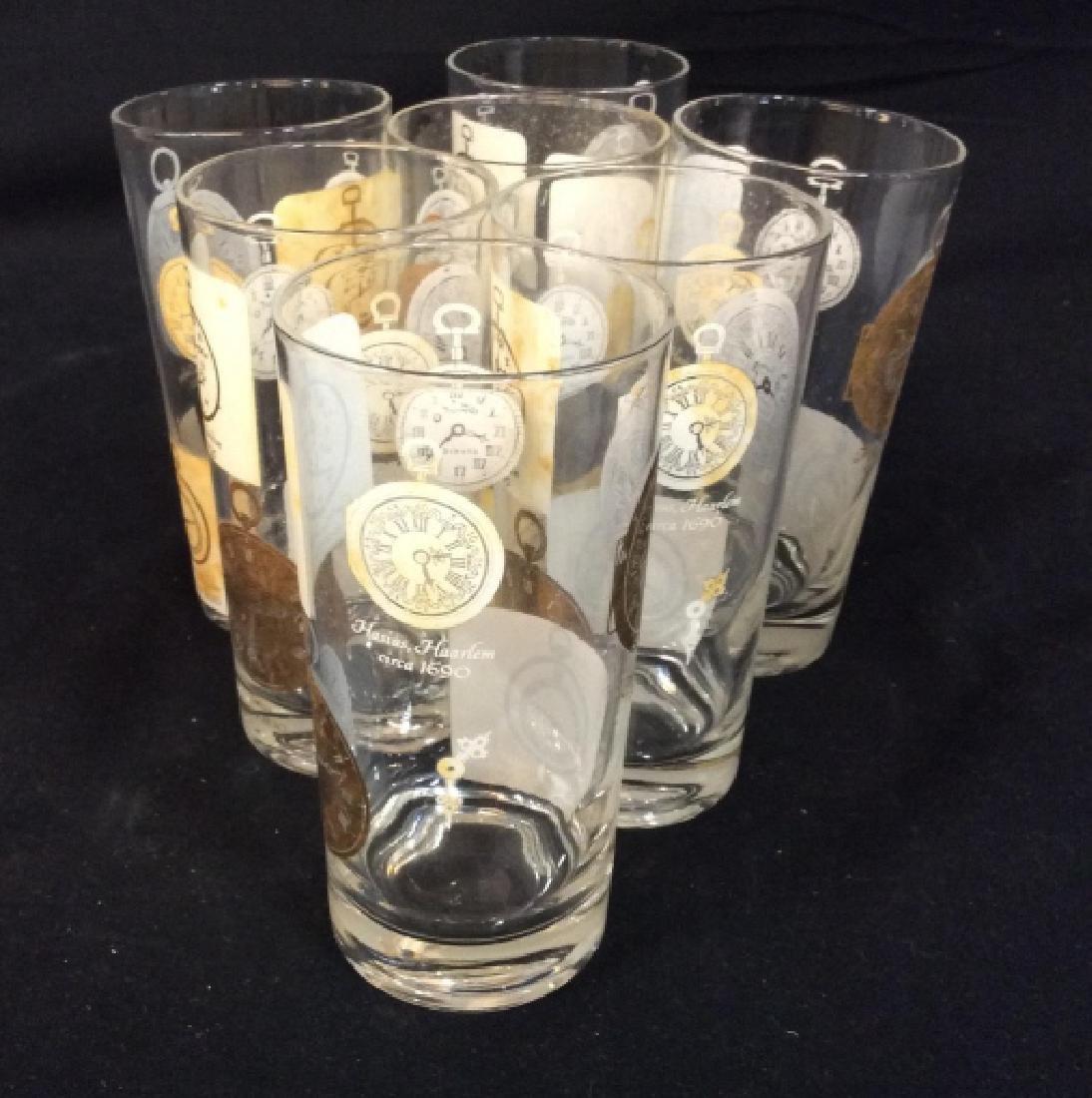 Set of  7 Vintage Clock Theme High Ball Glasses