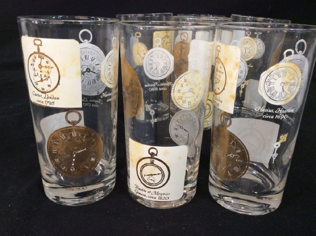 Set of  7 Vintage Clock Theme High Ball Glasses - 2