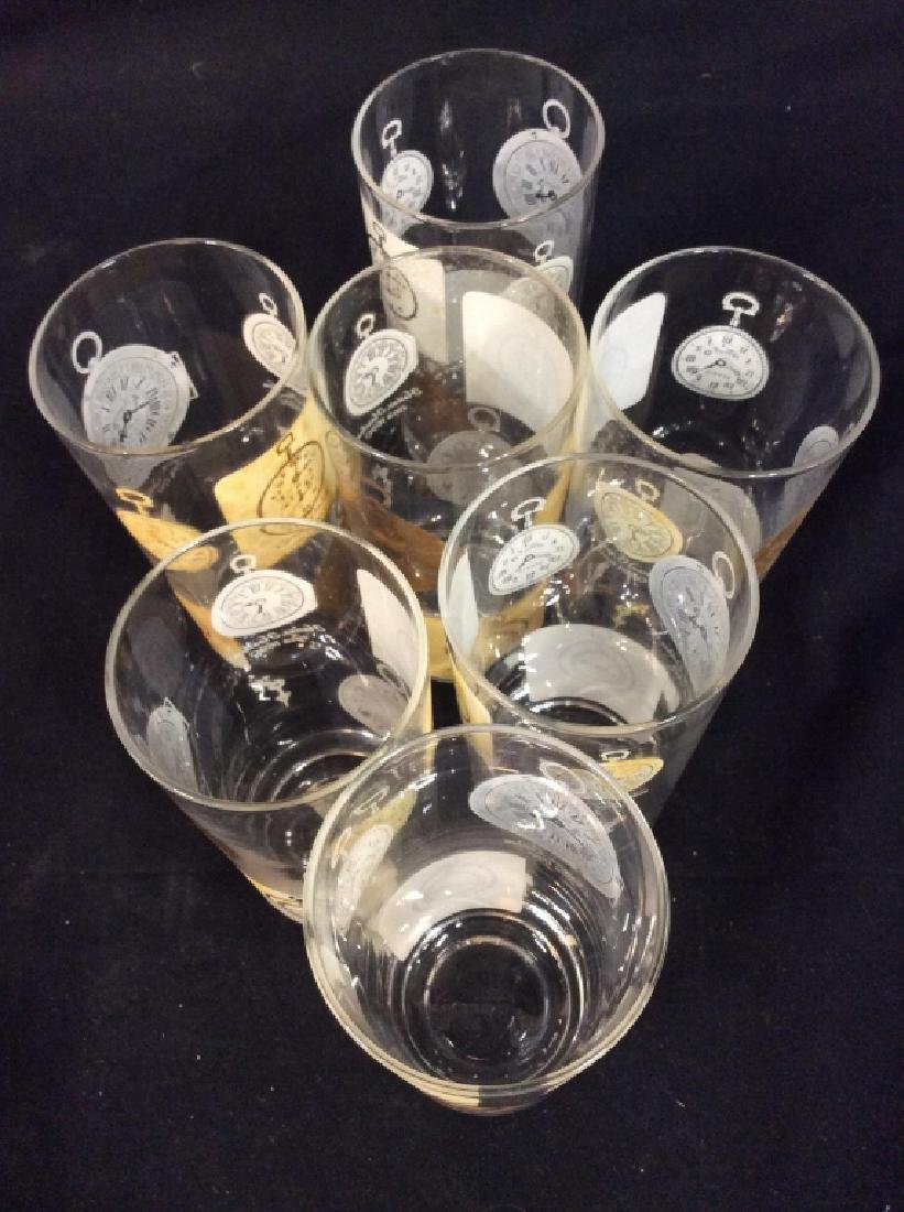 Set of  7 Vintage Clock Theme High Ball Glasses - 3