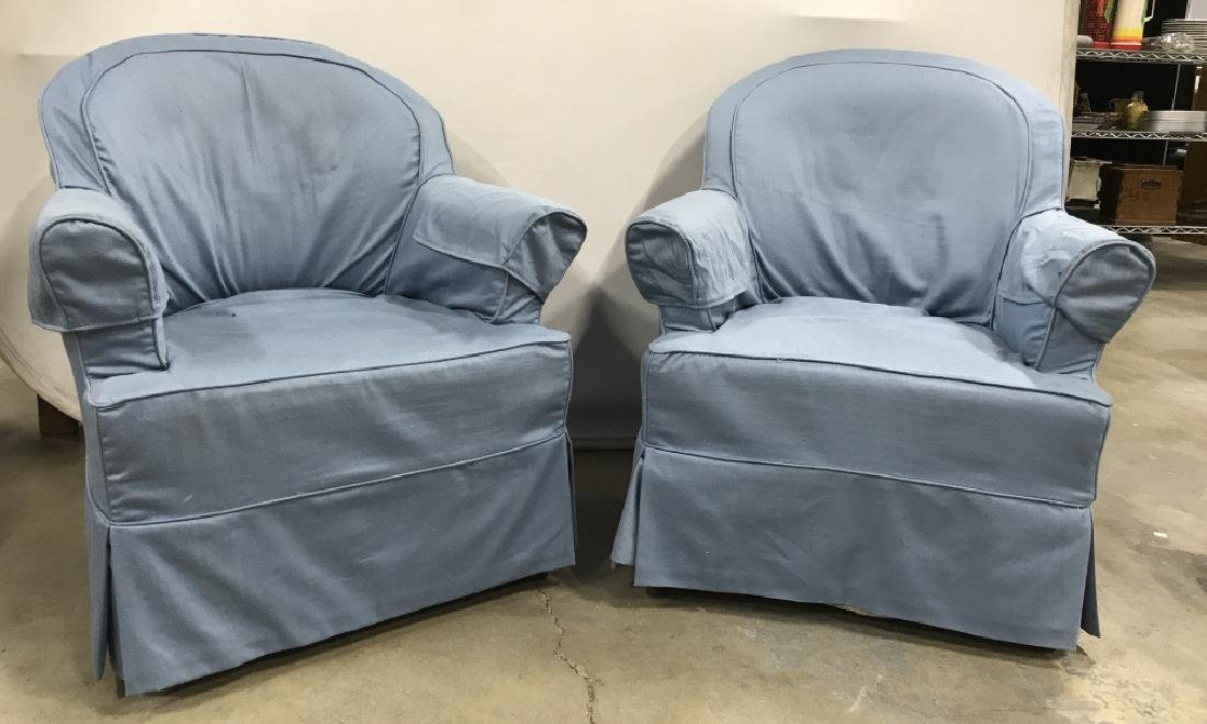 Pair Upholstered Slip Covered Club Chairs
