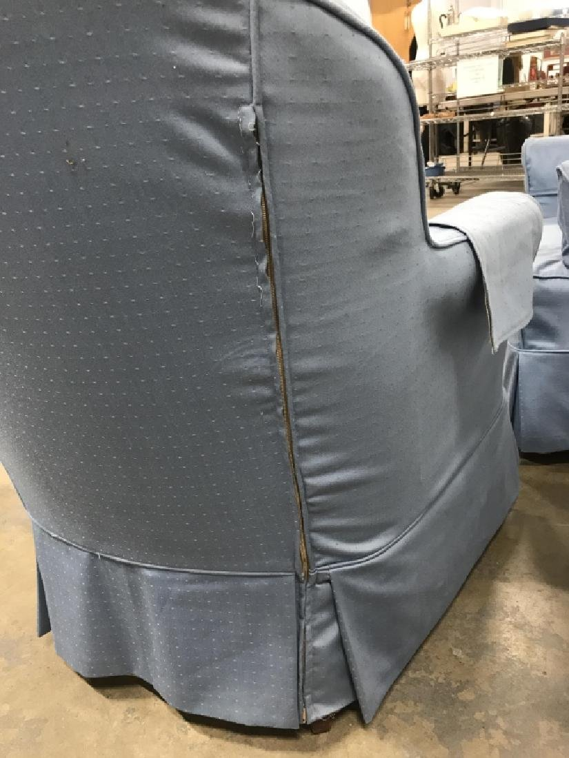 Pair Upholstered Slip Covered Club Chairs - 5