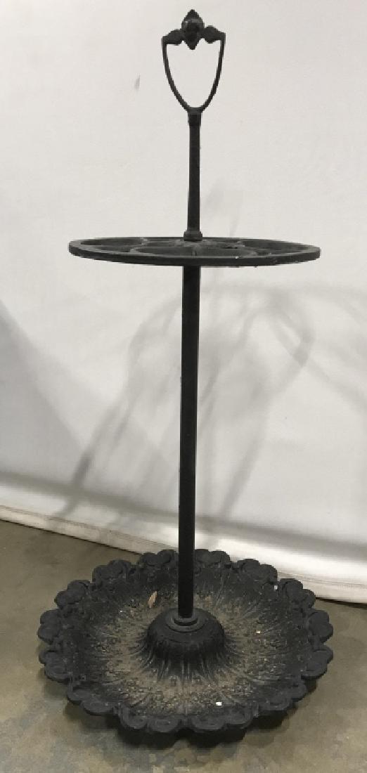 Vintage Painted Cast Metal Umbrella Stand - 2
