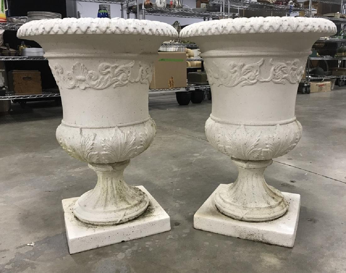 Pair Classical Style Cast Stone Entryway Planters