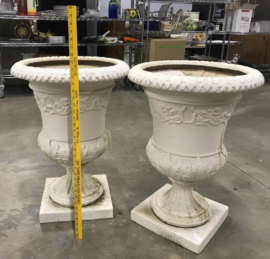 Pair Classical Style Cast Stone Entryway Planters - 3