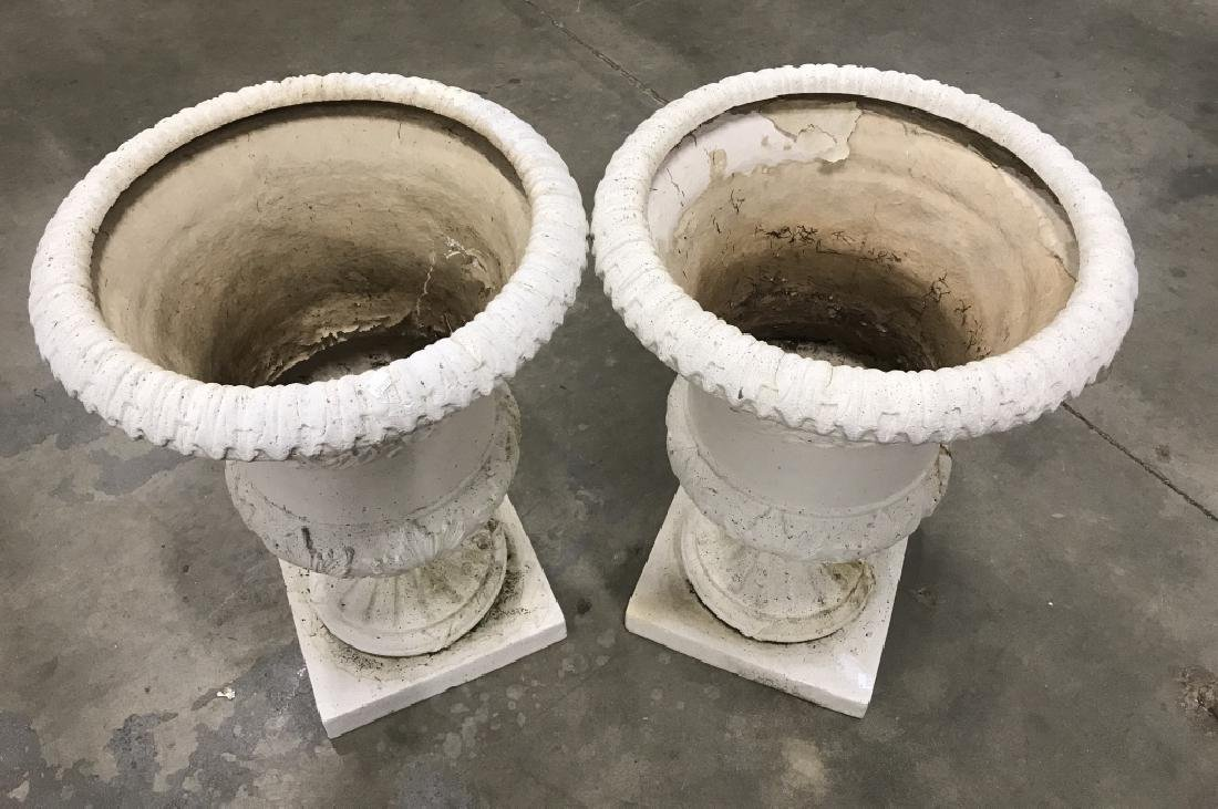 Pair Classical Style Cast Stone Entryway Planters - 4