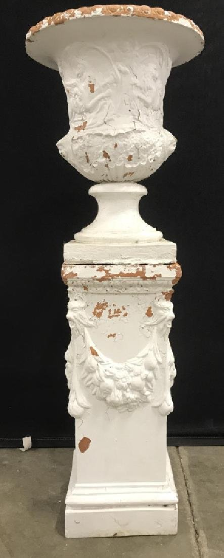 Outdoor Painted Terra-Cotta Planter And Pedestal - 2