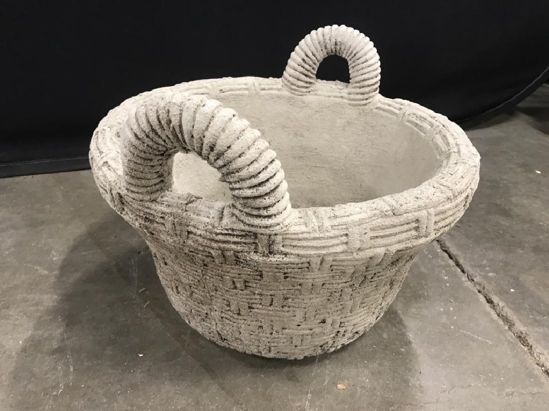 Outdoor Stone Comoosite Planter Stylized as Basket - 3