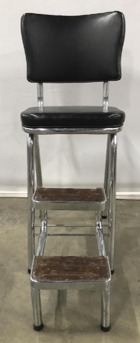 Vintage Metal Chrome Stool With Folding Steps - 2