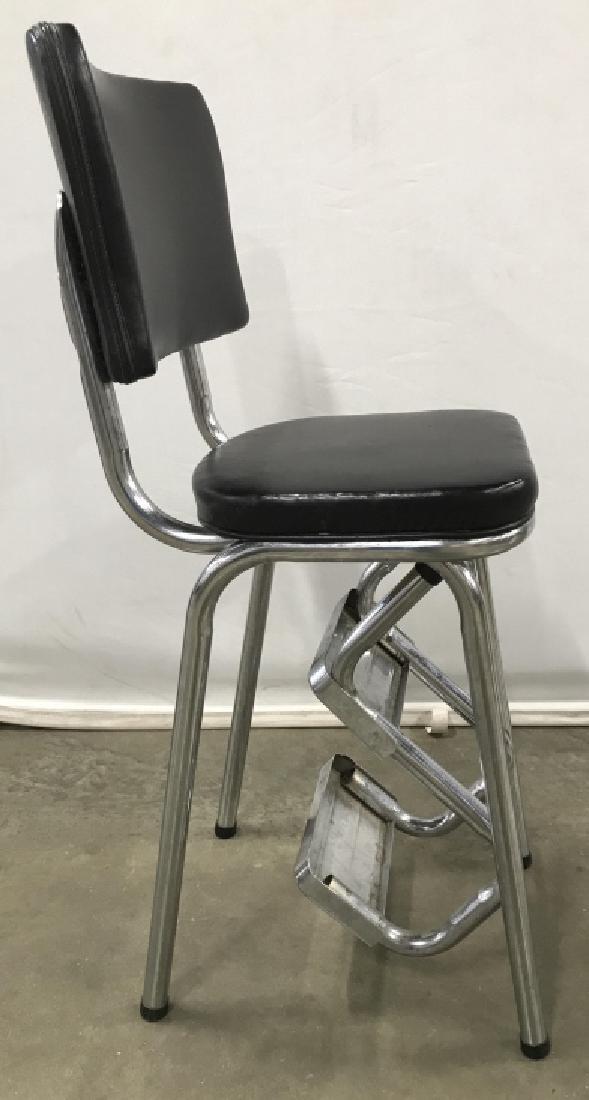 Vintage Metal Chrome Stool With Folding Steps - 5