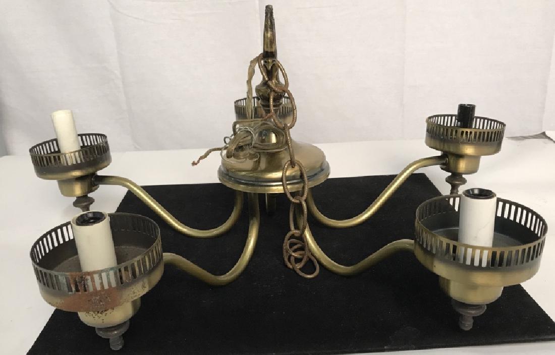 Brass Toned 5 Light Chandelier