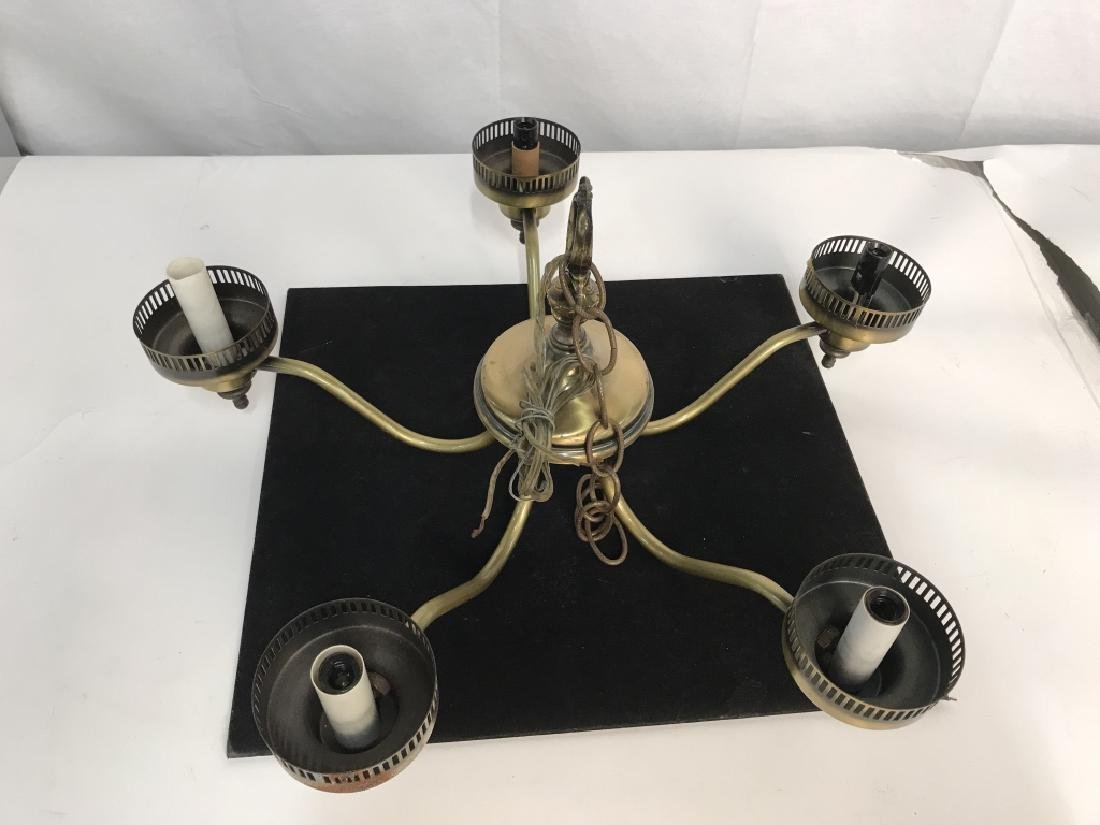 Brass Toned 5 Light Chandelier - 2